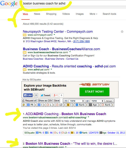 google search result adhd coach